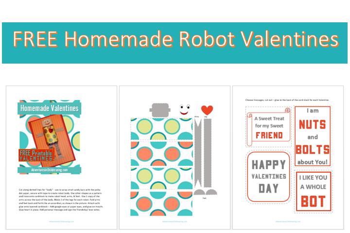 FREE HOmemade Robot Valentines