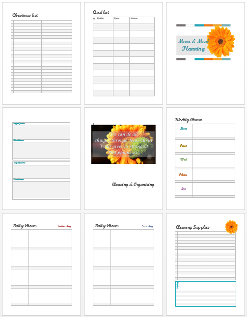 Fugal Mommas Homemakers binder -sample pages