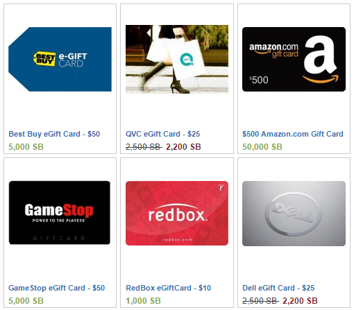 Gift Cards from SWAGbucks