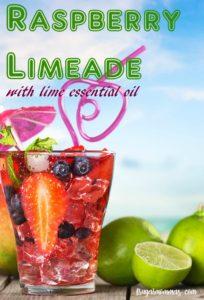 essential oils raspberry limeade drink